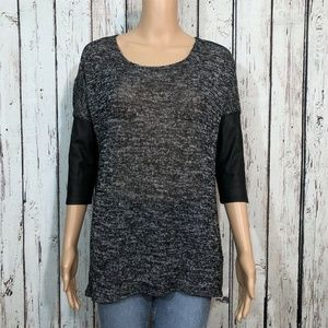 H&M Divided Black Sweater Vegan Leather Sleeves